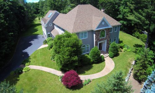 Aerial View of 281 Foxhill Street in Westwood MA