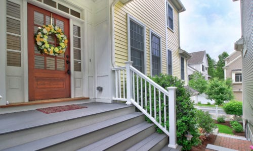 Stairs Up To Front Door of 34 Maple Lane Unit 34, Medfield MA