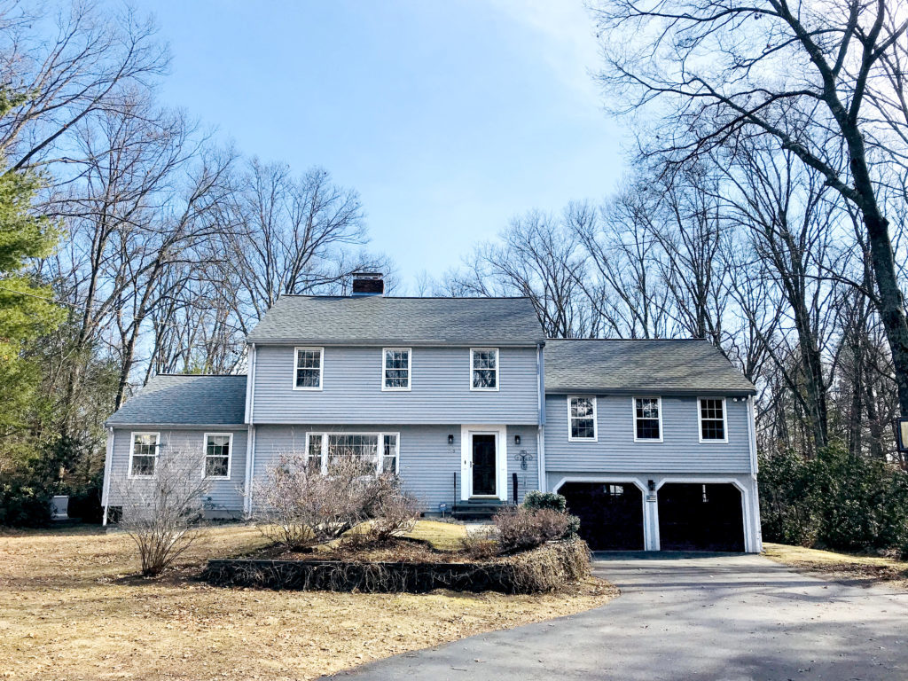 Front Exterior Photograph of 108 Locust Drive in Westwood MA