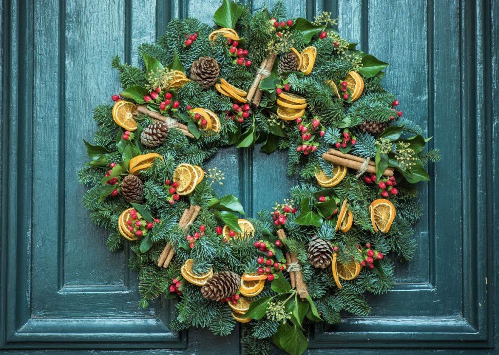 Holiday Wreath Hanging On A Door