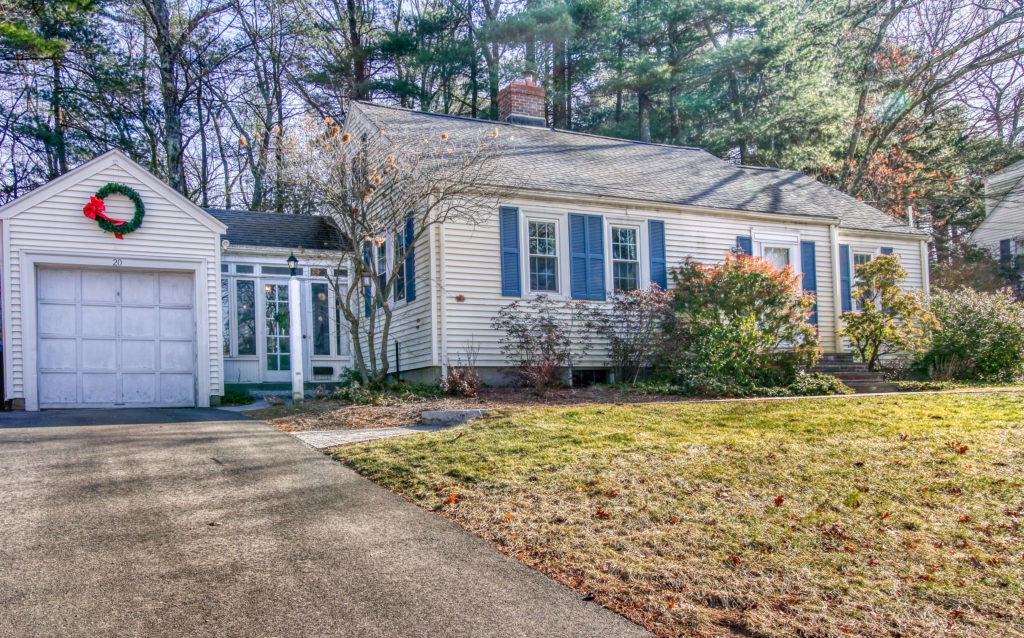 Front Exterior Photograph of 20 Wildwood Drive in Westwood MA