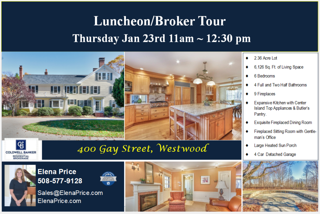 Postcard for broker luncheon tour at 400 gay street in westwood ma