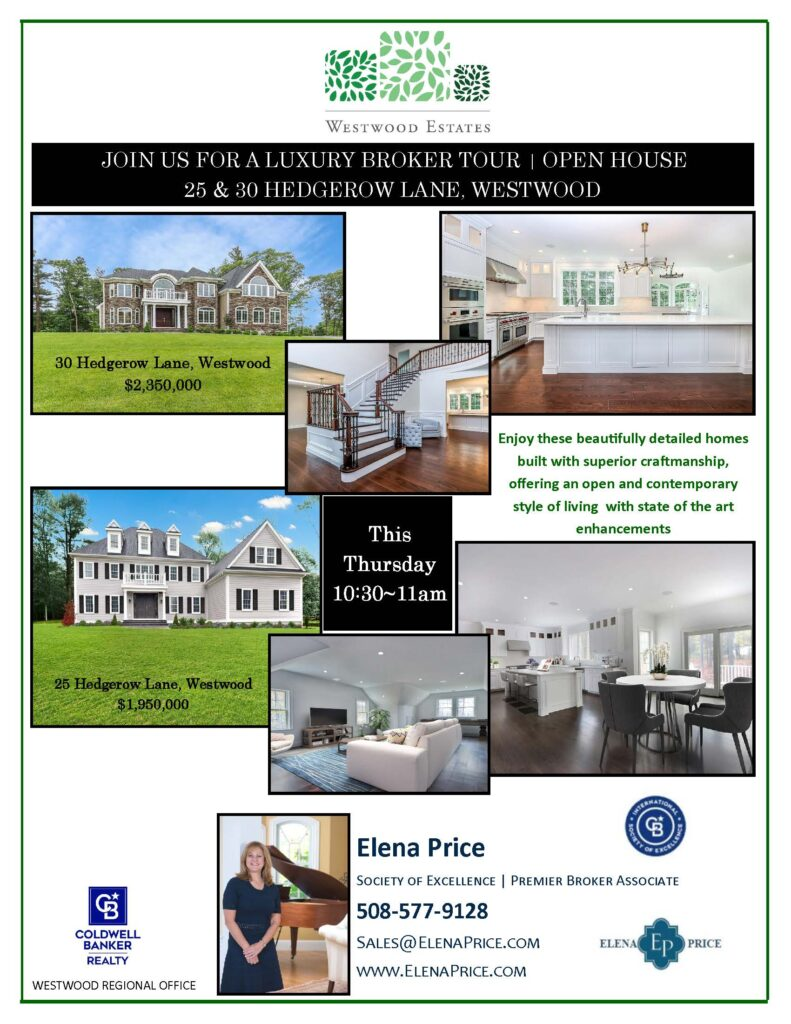 Flyer for Luxury Broker Tour for Hedgerow Lane