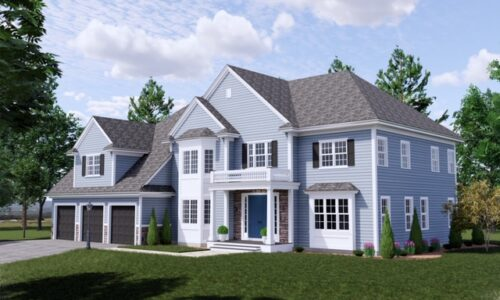 Frront Exterior Rendering of 33 Hedgerow Lane, Westwood MA